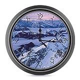 Reloj de pared silencioso, funciona con pilas, 25 cm, redondo, fácil de leer para el hogar, oficina, escuela, decoración, Suiza Montañas Nieve