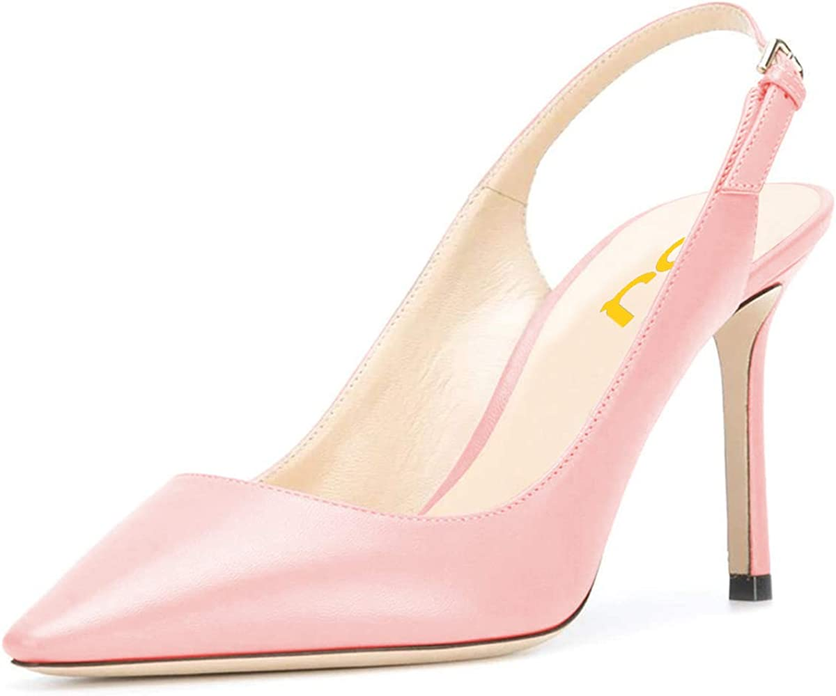 FSJ Women Classic High Heels Slingback Pumps Formal Dress Shoes Pointy Toe Office Business Sandals