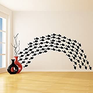 (100 Fish Stickers) Vinyl Wall Decals Flock of Fish / School of Fishes Bath Decor Art Stickers / Under The Sea Creature Ba...