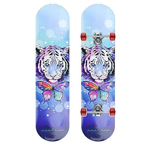Z-Meng Zhong Skateboard 31'x 8' Pulgada Monopatín Completo, Adecuado para Niñas, Niños, Adecuado para Patineta para Niños De 6 A 12 Años De Edad