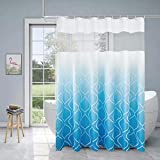 Xikaywnt Marokkanische Ombre Duschvorhänge für Badezimmer – wasserdichter strukturierter Stoff Badvorhang mit 12 Haken, 178 x 183 cm, Himmelblau