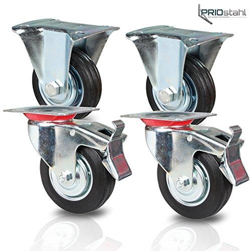 Transportrollen Schwerlastrollen 4 Stück| 2x Bockrollen & 2x Lenkrolle mit Bremse | 200mm Durchmesser | Gummi Schwarz | Vollgummi mit Stahlfelge
