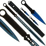 BKL1® Machete und Wurfmesser Set Blue Ninja Schwert Throwing Knife