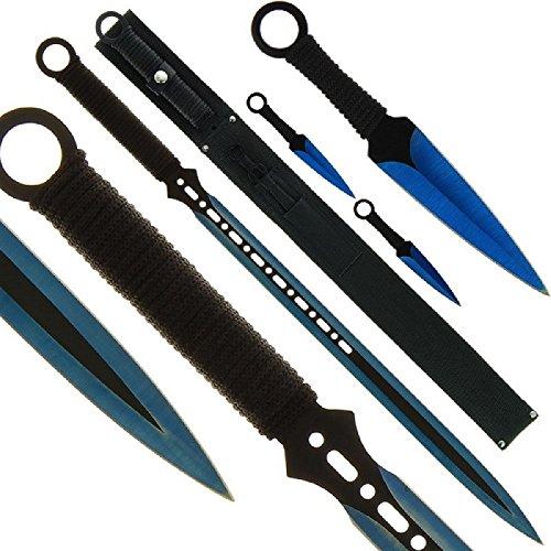 BKL1® Machete und Wurfmesser Set Blue Ninja Schwert Throwing Knife 1414