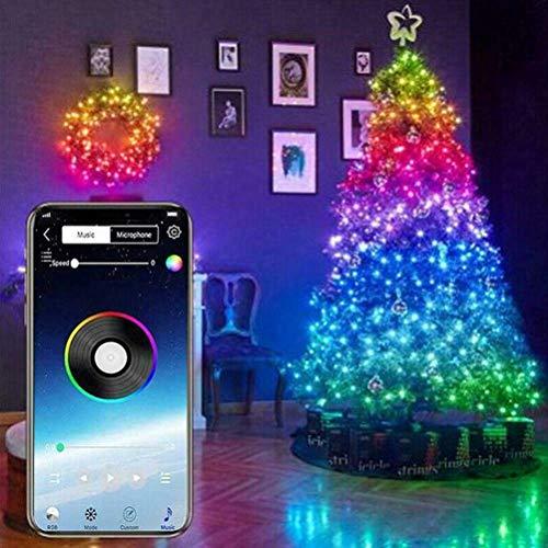 LYF Luci a Corda Fata, luci Natalizie a Strisce LED controllate da App 20m, USB Bluetooth String Light Copper Wire String Light luci Decorative per Alberi di Natale Luci a Strisce