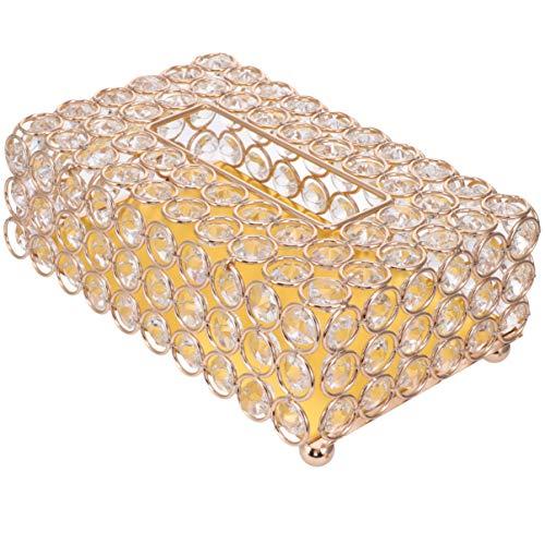 EXCEART Kristall-Tücherbox-Abdeckung, rechteckig, dekorativ, Toilettenpapier-Box, Serviettenhalter, Gesichtstücher-Behälter für Badezimmer, Kommode, Nachttisch, goldfarben