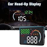 ECOOLBUY Upgrade Q5 Car Universal HUD 4.8' HD Screen Head Up Display GPS System Support OverSpeed Warning Timer Compass Engine RPM,Mileage, etc