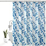 Homecrown Pvc Floral Shower Curtain 7 Ft X 4.5 Ft Blue Pack Of 1