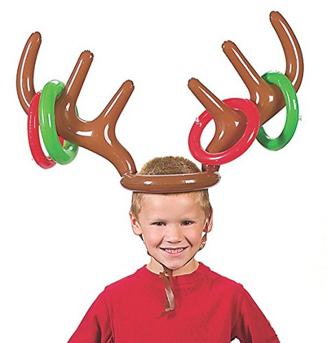 Giveme5 Christmas Holiday Party Toy, Inflatable Reindeer Antler Hat Ring Toss Game
