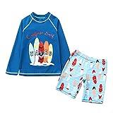 Toddler Baby Boys Two Pieces Swimsuit Set Kids Cartoon Bathing Suit Rash Guards Blue