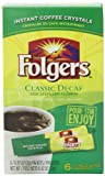 Folgers Classic Decaf Decaffeinated Instant Coffee Crystals, 6 Single Serve Packets