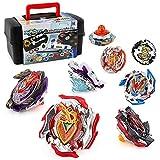 OBEST Peonzas Juguetes Conjunto, 8 Turbo Burst Gyro Spinners y 2 Lanzador Set, con Caja Portátil, Cumpleaños, Navidad Regalo, Juguetes para Niños
