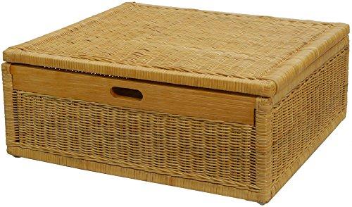 Großer Unterbett Schub aus Rattan 64x58x24cm / Unterbettkommode mit Deckel, Bett Kasten Korb Kleider Aufbewahrung Box (Honig)
