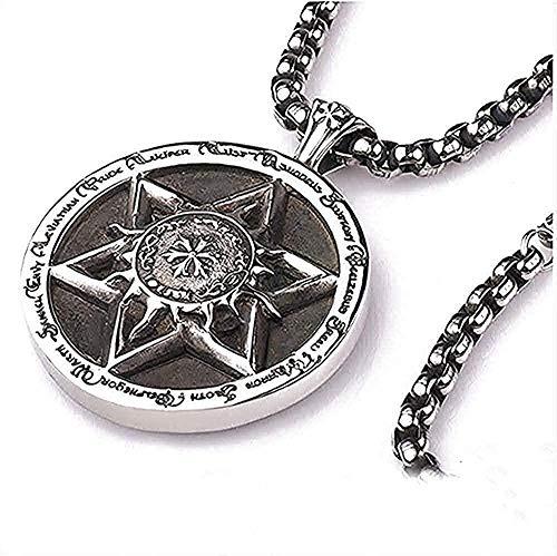 Collar de moda vintage collar de estrella de buceo cruz de hexagrama y 12 constelaciones de acero inoxidable colgante redondo grande y collar de mujer regalo para mujeres hombres regalo