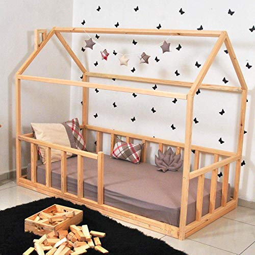 Twin Size House Bed with Picket Fence Railings, House bed Montessori