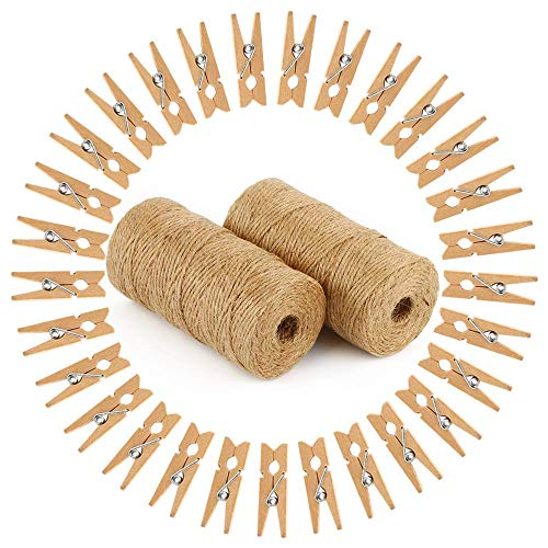 Natural Jute Twine 2pcs, 656Feet 3 ply Twine String with 50pcs Wooden Clothespins Clips for Craft Projects Gift Wrapping Photo Display Art Packing Gardening DIY Decoration