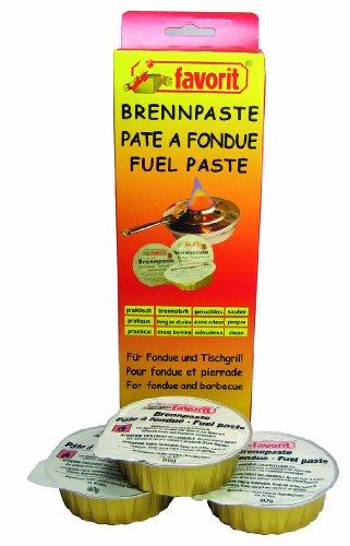 Favorit Brennpaste; geeignet für Sicherheitsbrenner; reiner Bio-Alkohol; verbrennt rußfrei; 3 x 80 g Schalen - 1811