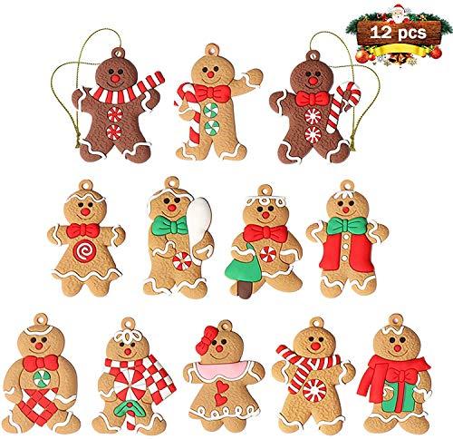 GuassLee - Ornamenti per albero di Natale, 12 pezzi, assortiti, a forma di omini di pan di zenzero, in plastica, decorazioni da appendere all'albero di natale, 7,6 cm di altezza