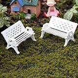 Horizonc Mini Parc Siège De Siège Ornement De Jardin Miniature Artisanat Fée Dollhouse Decor - Blanc