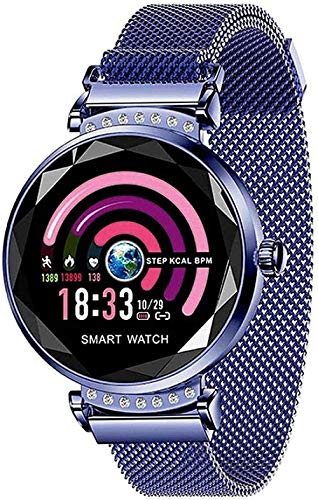 Reloj inteligente para mujer con recordatorio de llamadas, podómetro, frecuencia cardíaca, presión arterial, pulsera inteligente aplicable a Android 4.4 iOS 8.0 compatible con Bluetooth 4.0-C