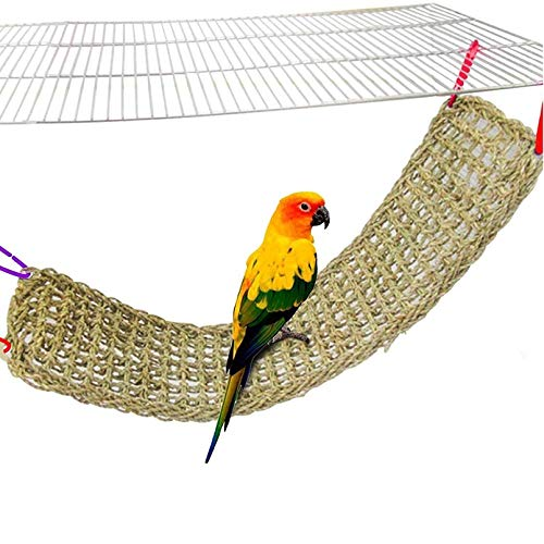 """Bird Seagrass Mat,Natural Grass Woven Net Hammock Hanging on Parrot Cage with 4 Hooks,Parakeet Climbing Rope Ladder Chew Toys for Lovebird Cockatiel Conure Budgie,Cockatoo Supplies 28.3"""" x 6.7"""""""