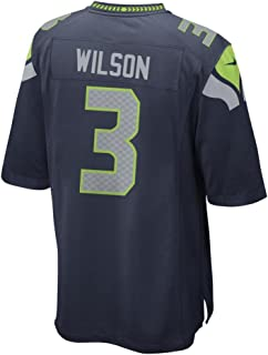 NIKE Youth's Seattle Seahawks Russel Wilson #3 Team Color On Field Football Jersey Navy Green/Cool Grey (Youth Small)