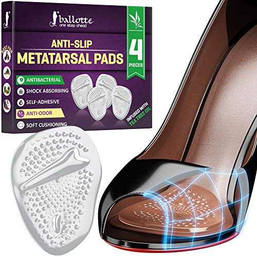 Soft Metatarsal Pads for Women and Men Infused with Tea Tree Oil [Anti-Slip Ball of Foot Cushions] Prevent Tension and Forefoot Pain, Strong Adhesive High Heel Inserts, Stop Calluses and Rubbing