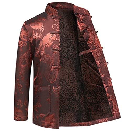 Chiński mundur Tang Suit - Jesień i zima Męskie Chińskie tradycyjne Tang Suit Kurtka Duży Rozmiar Drukowanie Kołnierz Przycisk Chiński Kung Fu Kurtka Odzież Zagęszczona Plus Velvet Prosty i klasyczny