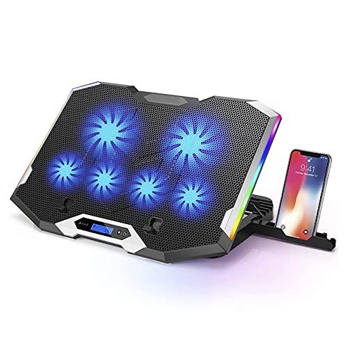 LIPETLI Base de RefrigeracióN Gaming para Ordenador PortáTil, 6 Ventiladores Silenciosos con led Azul, USB Puertos para Pro PortáTil de 21 Pulgadas,Azul