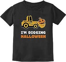 I'm Digging Halloween Pumpkin Face Tractor Toddler Kids T-Shirt