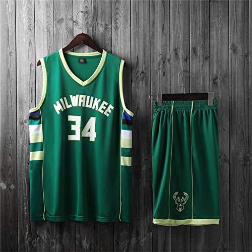 YZQ Uniformes De Baloncesto para Niños, Milwaukee Bucks # 34 Giannis Antetokounmpo Camisetas De Baloncesto De La NBA Chalecos Sueltos Y Transpirables Camisetas Casuales + Pantalones Cortos,Verde