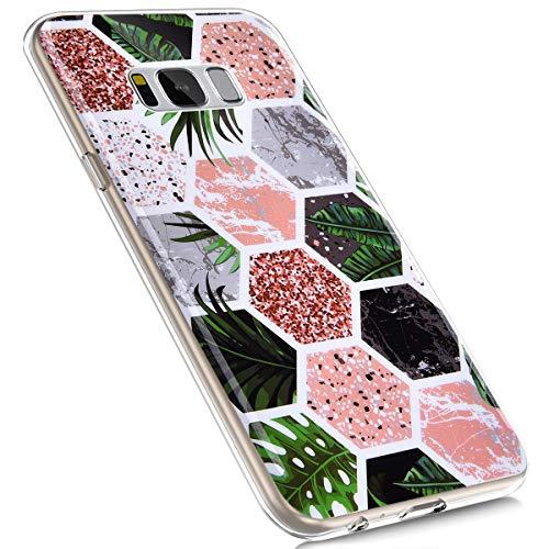 MoreChioce Compatible avec Coque Samsung Galaxy S8 Plus,Compatible avec Coque Galaxy S8 Plus Silicone Marbre,Jolie Forêt Tropicale Hybrid Crystal Flexible Souple TPU Bumper Anti-Rayures Defender