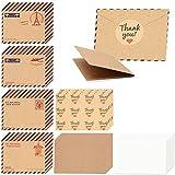 128 piezas de sobres mini Kraft, papel de tarjetas de regalo vintage con pegatinas, postales de invitación de fiesta de cumpleaños de boda, notas de saludo (40 sobres+40 tarjetas+48 pegatinas)