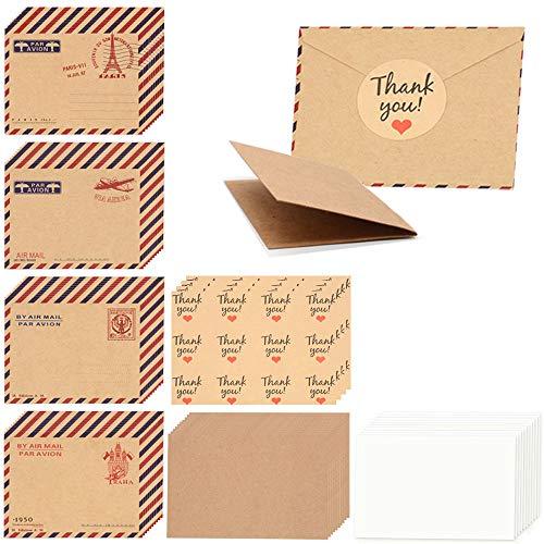 128 stücke Mini Kraftpapier Umschläge, Vintage Niedlichen Geschenkkarten Papier mit Aufklebern, Hochzeit Geburtstagsparty Einladung Postkarten, Gruß Notizen (40 umschlag + 40 karte + 48 aufkleber)