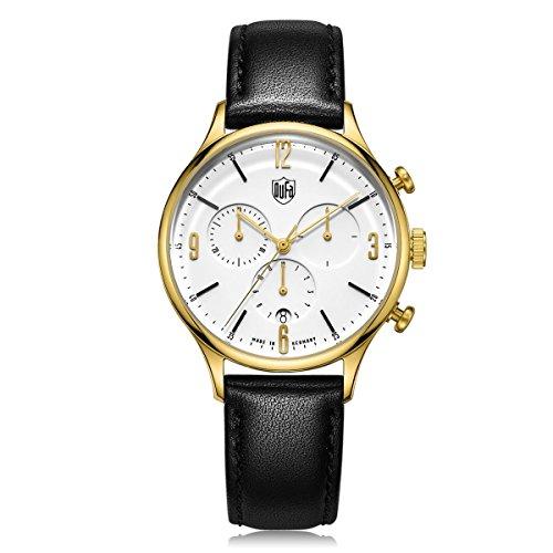 Dufa Deutsche Uhrenfabrik Unisex Chronograph Quarz Uhr mit Leder Armband DF-9002-04