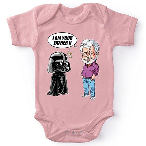 Body bébé (Filles) Rose Star Wars parodique Dark Vador et George Lucas - I am Your Father : Un père Pas si Inconnu Que ça. : (Version Originale) (Parodie Star Wars)
