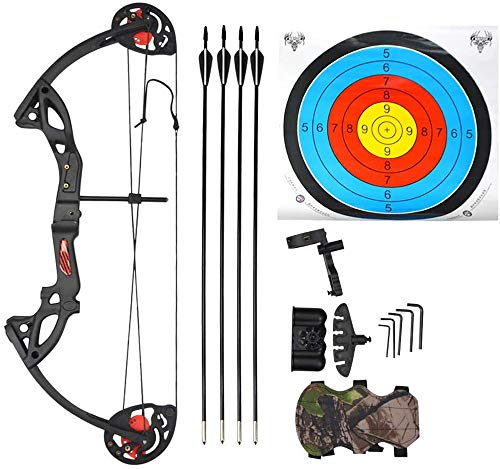 SHARROW Youth Compound Bow Set Junior Target Bow 15-29lbs Adjustable Twin Cam Right Hand Bow Archery Hunting Equipment 65% Let Off 260fps (Black)