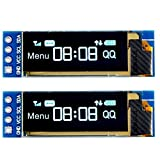 MakerHawk 2pcs I2C OLED Módulo de Pantalla 0.91 Pulgadas I2C SSD1306 OLED Módulo de Pantalla Blanco I2C OLED Controlador de Pantalla DC 3.3V ~ 5V para Arduino