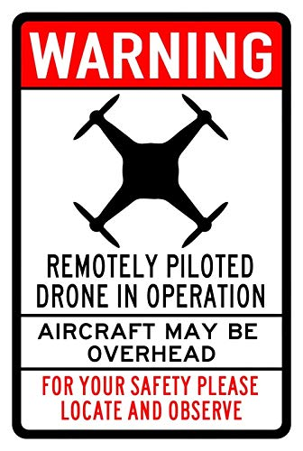 """Vintage Tin Sign Warning Drone in Operation Aircraft Overhead Nostalgic Art Decoration Retro Metal Poster for Home Cabin Bar Store Cafe Club Farm Garage 12"""" X 8"""""""