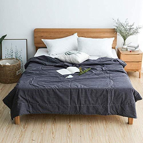 MRTYU-UY Edredón reversible de algodón a cuadros para decoración de dormitorio, reversible de doble cara, para verano, fresco