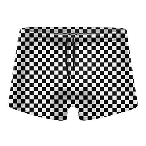 Traje de baño para hombre, diseño cuadrado, color blanco y negro