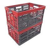 OKT Germany GmbH 2 x Profi - Klappbox TÜV Rheinland zert. 45 L bis 50 kg anthrazit/rot Faltbox Kunststoff Box Kiste