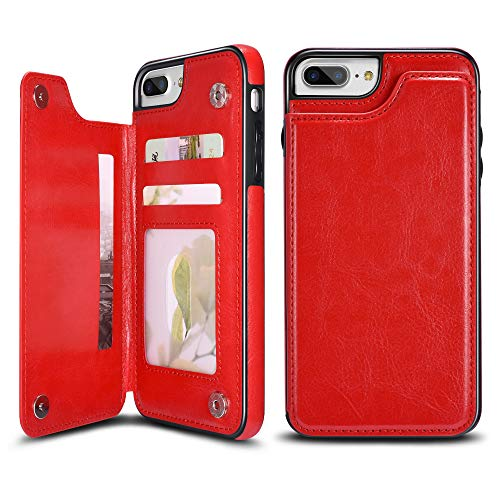 UEEBAI Case for iPhone 7 iPhone 8, Luxury PU Leather Case with [Two Magnetic Clasp] [Card Slots] Stand Function Durable Shockproof Soft TPU Case Back Wallet Cover for iPhone 7/iPhone 8 - Red