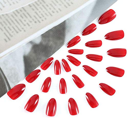 CSCH Faux ongles Coffin False Nails Red Long Fake Nails Ballerina Glossy False Nail Acrylic Full Cover Stick on Nails 24pcs for Women and Girls
