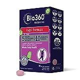Bio360 Kids Probiotic | Targeted Probiotics for Kids Whole Body Health | 5 Billion CFU 10 Strains | Chewable Mixed Berry Flavor | 30 Vegan Supplements