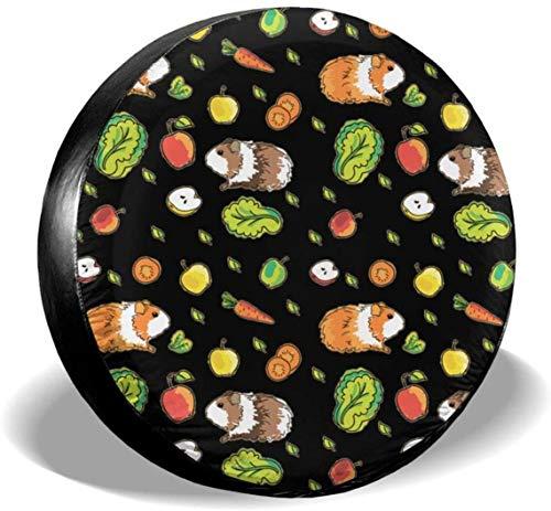 MODORSAN Cute Guinea Pig and Carrots - Cubierta de Rueda de Repuesto de poliéster, Cubiertas de Rueda universales para Jeep, Remolque, RV, SUV, camión, Accesorios, 14 Pulgadas