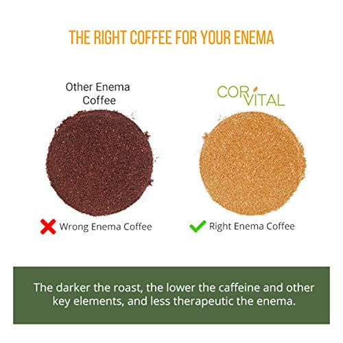 *The Real Deal* Cor-Vital 1 LB Enema Coffee Best for Coffee Enema Colon Cleanse and Detox - Green Coffee Beans Ground w/Free Detox Recipe - Gold Roast