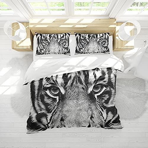 Bettwäsche Set 3D Print Tiger Tier Kunst Bettbezug Set Mikrofaser Halloween Gothic Bettbezug mit 2 Kissenbezügen Größe 200x200cm