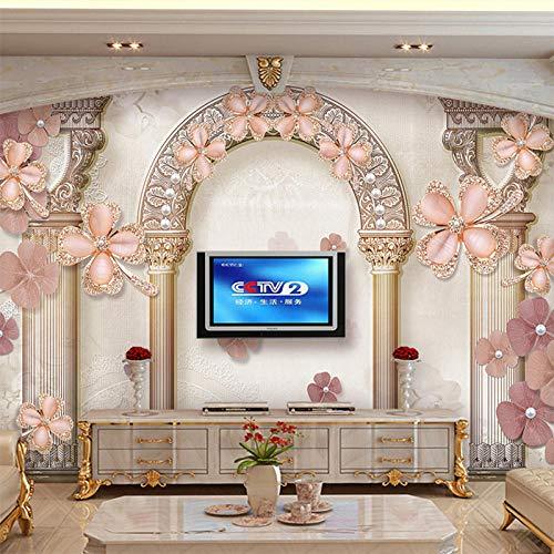 Msrahves Papel tapiz estéreo 3D Diamantes flores arcos de piedra moderno 350X245CM pared vinilos decorativos papel fotografico 3D Fondos de pantalla Fondo Pared Sala de estar Dormitorio TV Sofá Mural