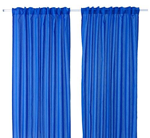 IKEA Gardinen-Set VIVAN - 2 Gardinenschals BLAU in 300 x 145 cm mit Kanalsaum, verdeckten Schlaufen und Kräuselband in Oberkante